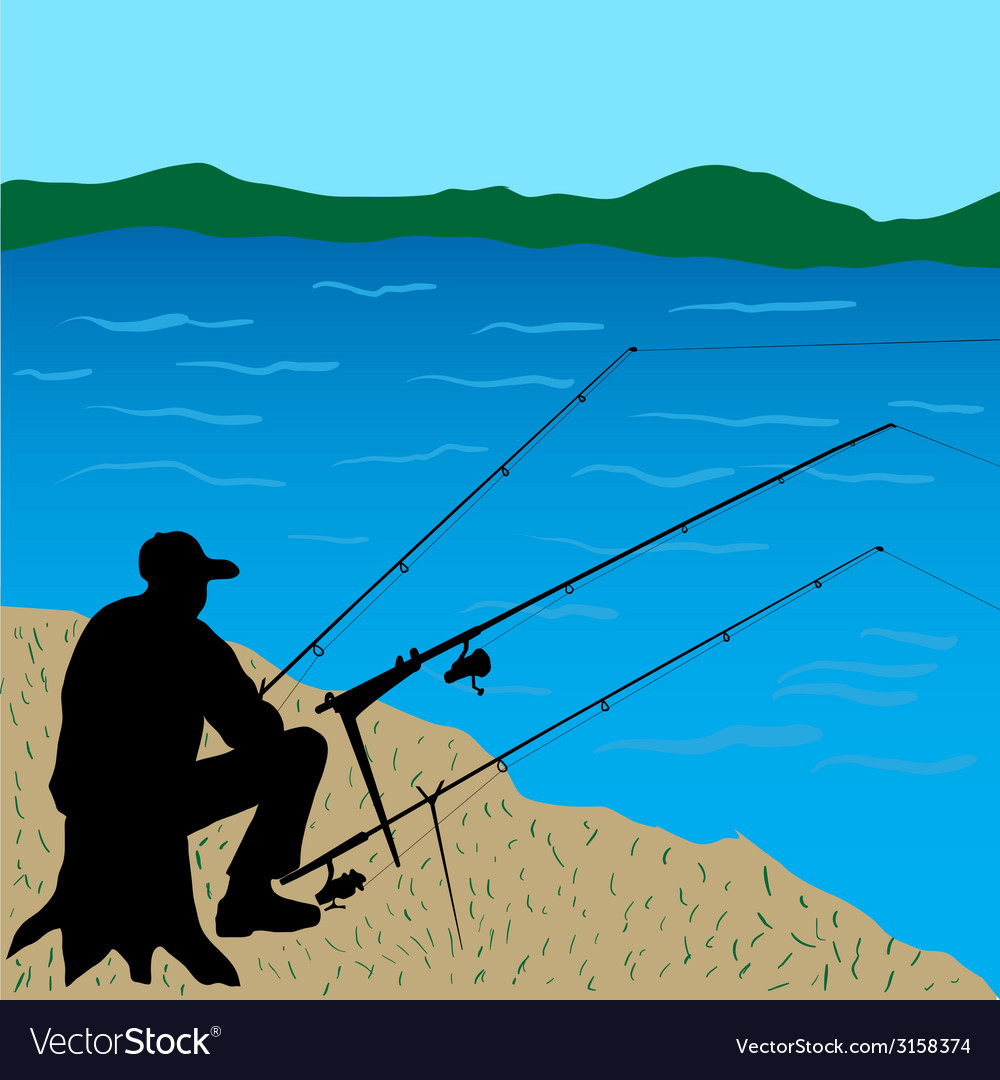 Fisherman on the stump vector | Price: 1 Credit (USD $1)