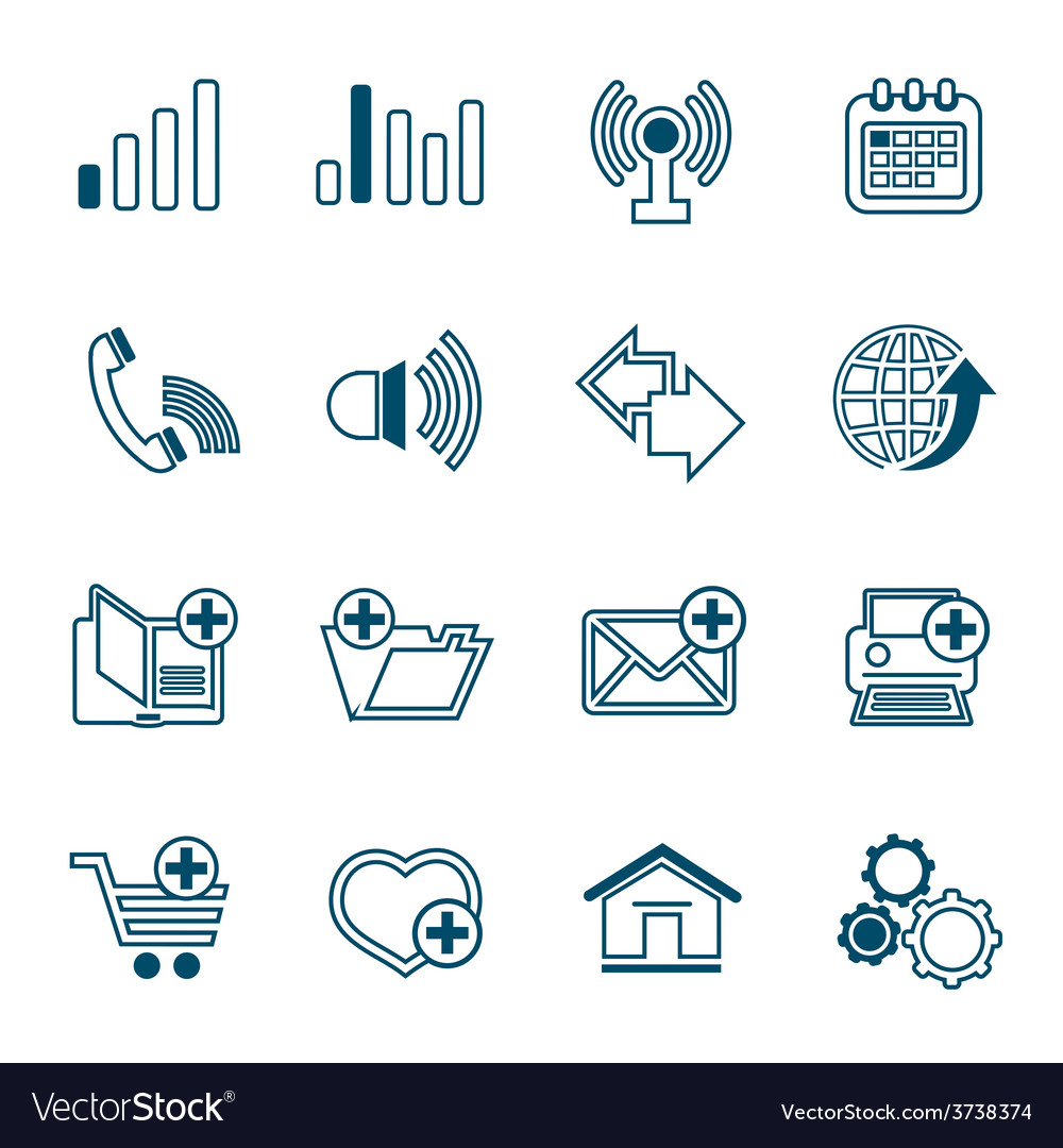 Flat line web icons set vector | Price: 1 Credit (USD $1)