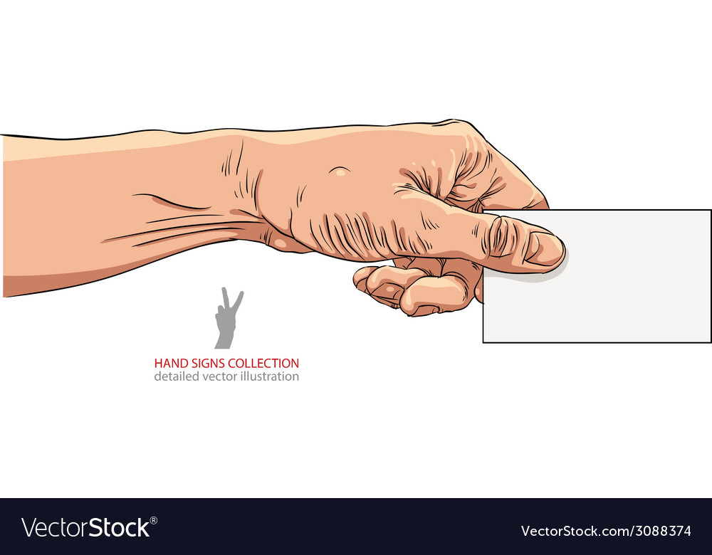 Hand giving business card detailed vector | Price: 1 Credit (USD $1)