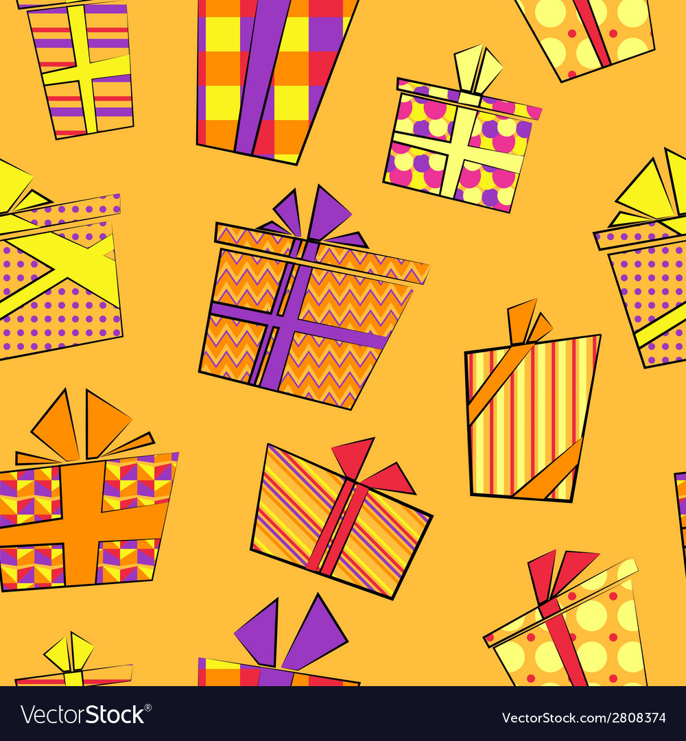 Seamless pattern with flat cartoon style present vector | Price: 1 Credit (USD $1)