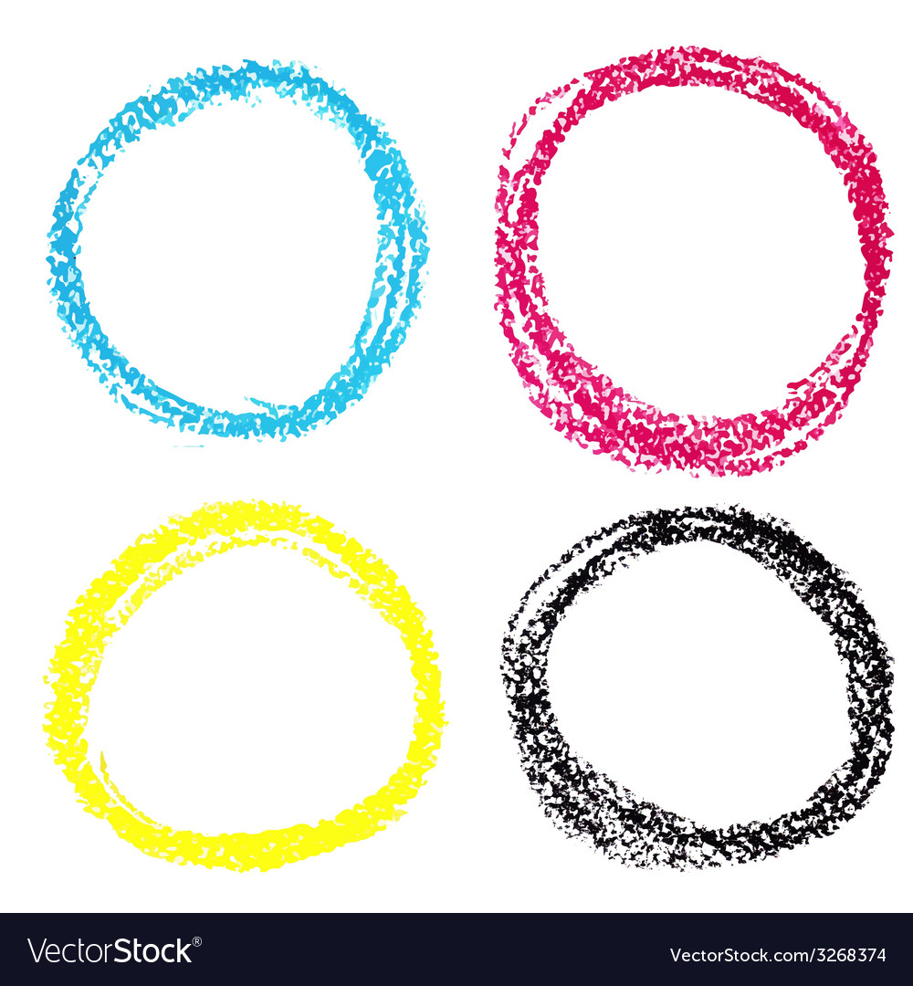 Set of cmyk circle spots of pastel crayon isolated vector | Price: 1 Credit (USD $1)