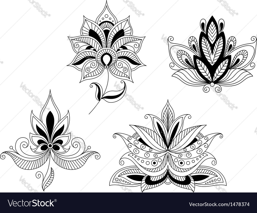 Set of indian and persian flower blossoms vector | Price: 1 Credit (USD $1)