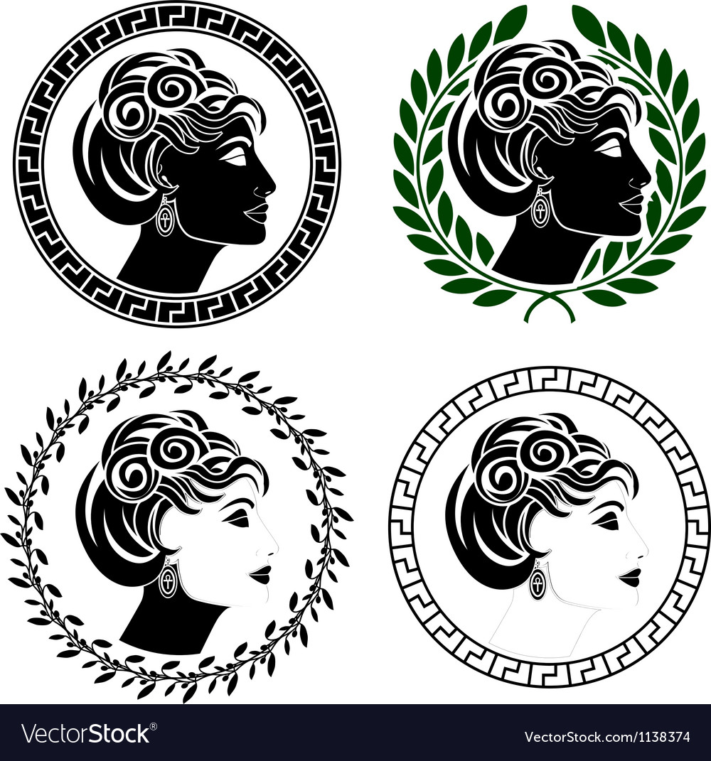 Set of roman woman profiles vector | Price: 1 Credit (USD $1)