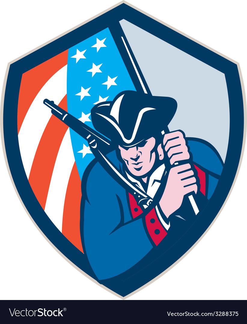 American patriot holding brandish flag shield vector | Price: 1 Credit (USD $1)