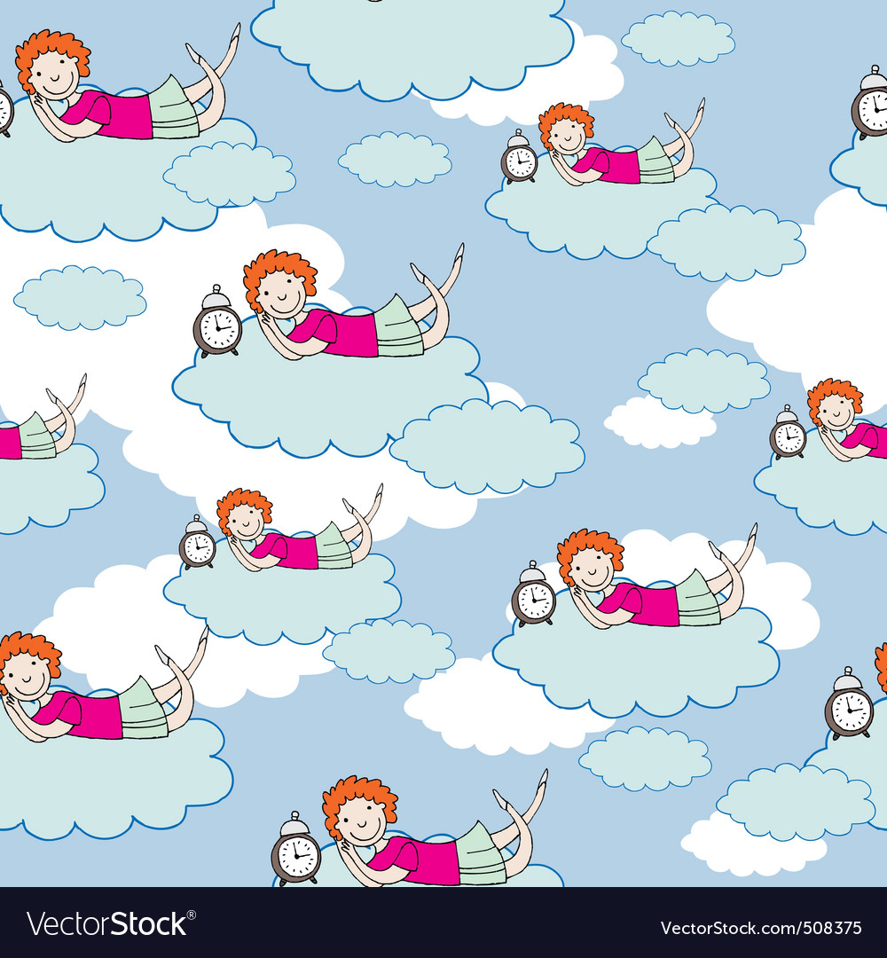 Child on cloud vector | Price: 1 Credit (USD $1)