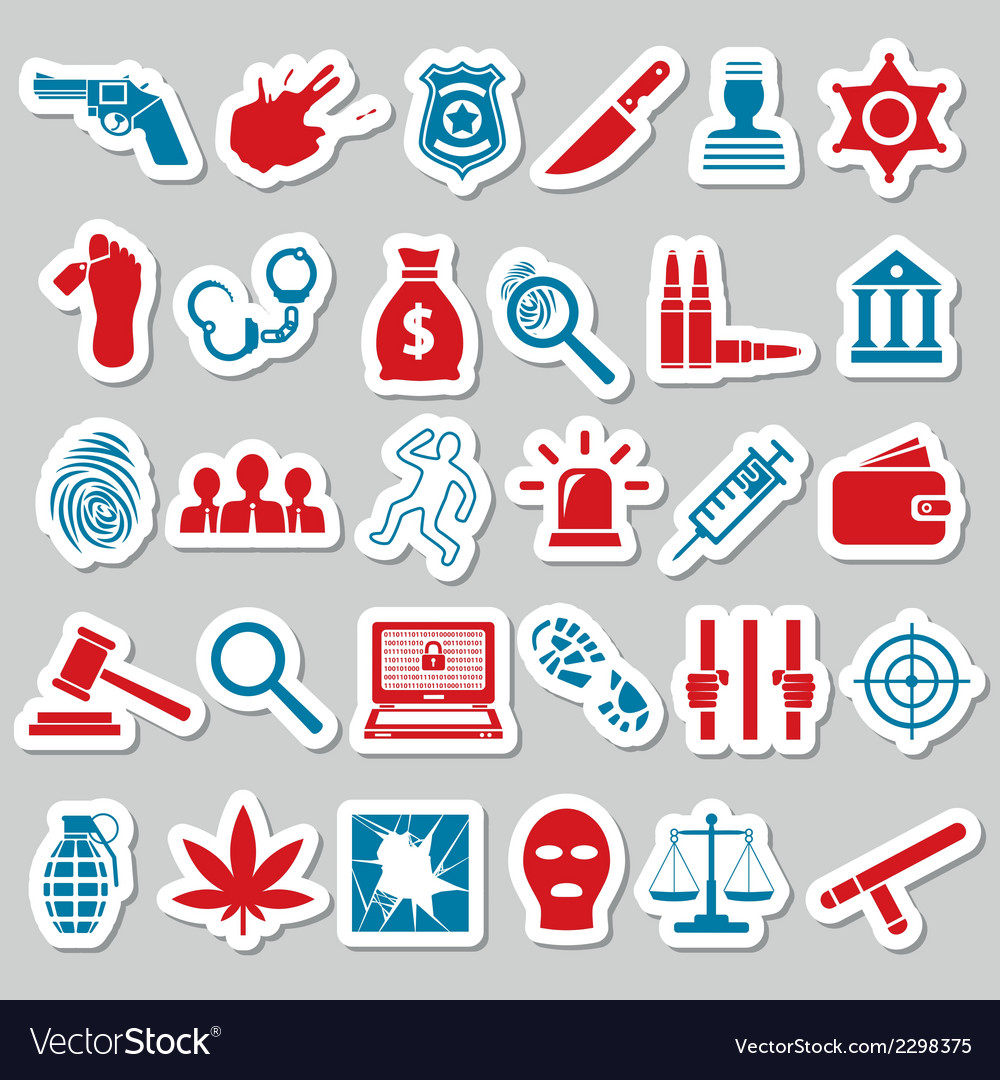 Crime and justice stickers vector | Price: 1 Credit (USD $1)