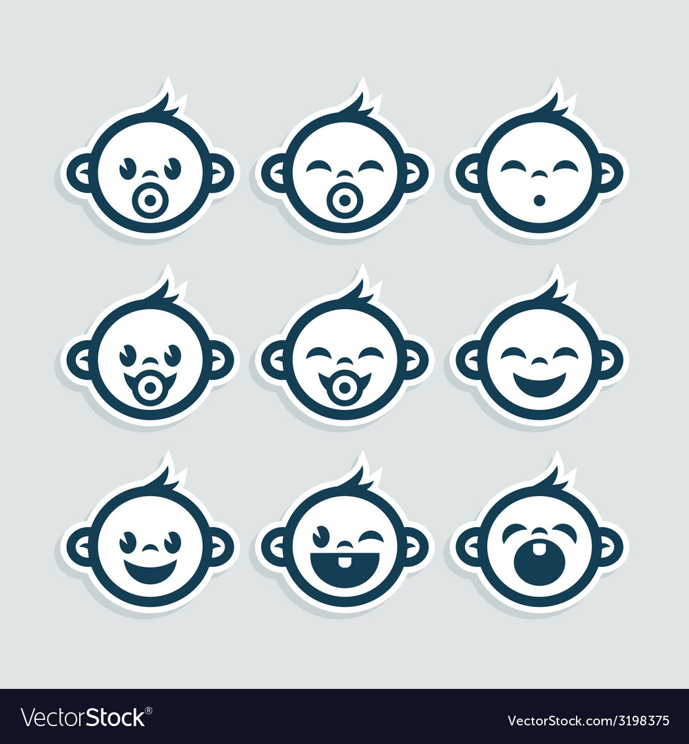 Cute baby boy icons vector