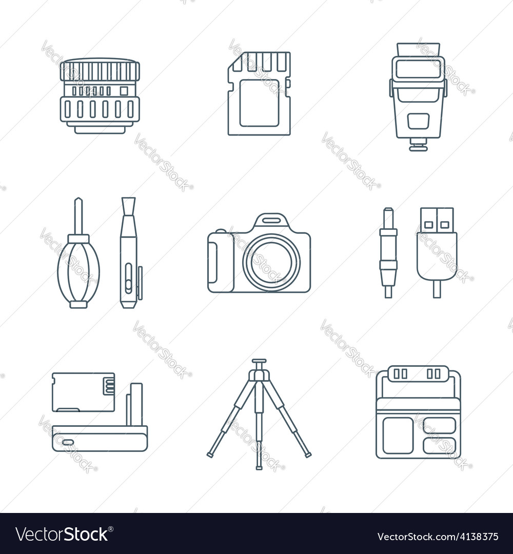 Dark outline various digital photography tools vector | Price: 1 Credit (USD $1)