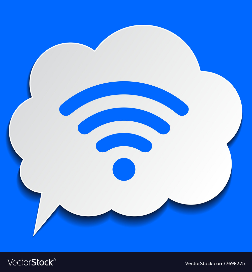 Paper bubble with wi-fi symbol on blue background vector | Price: 1 Credit (USD $1)
