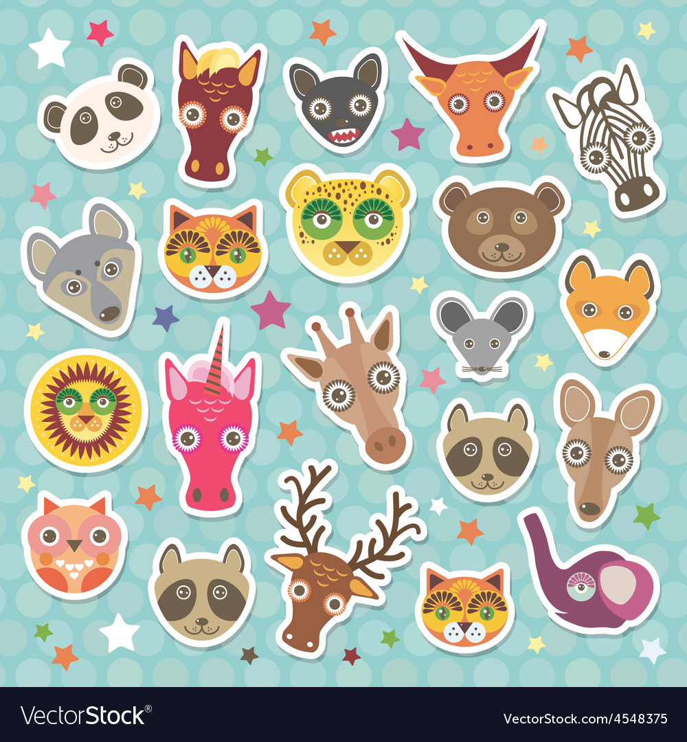 Sticker set of funny animals muzzle teal vector | Price: 1 Credit (USD $1)
