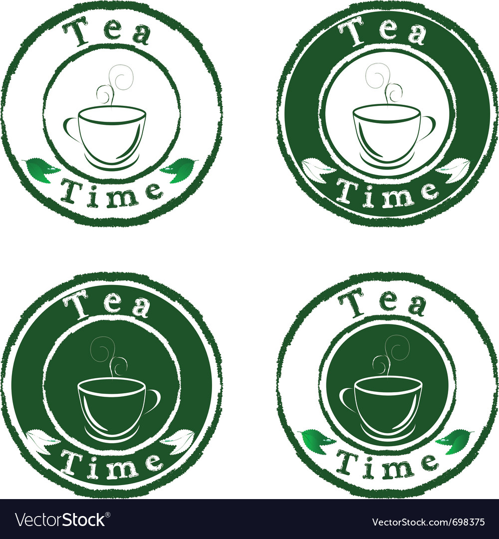 Tea time stamps set isolated on white background vector | Price: 1 Credit (USD $1)