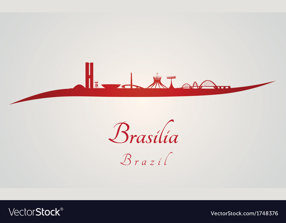Brasilia skyline in red and gray background vector | Price: 1 Credit (USD $1)
