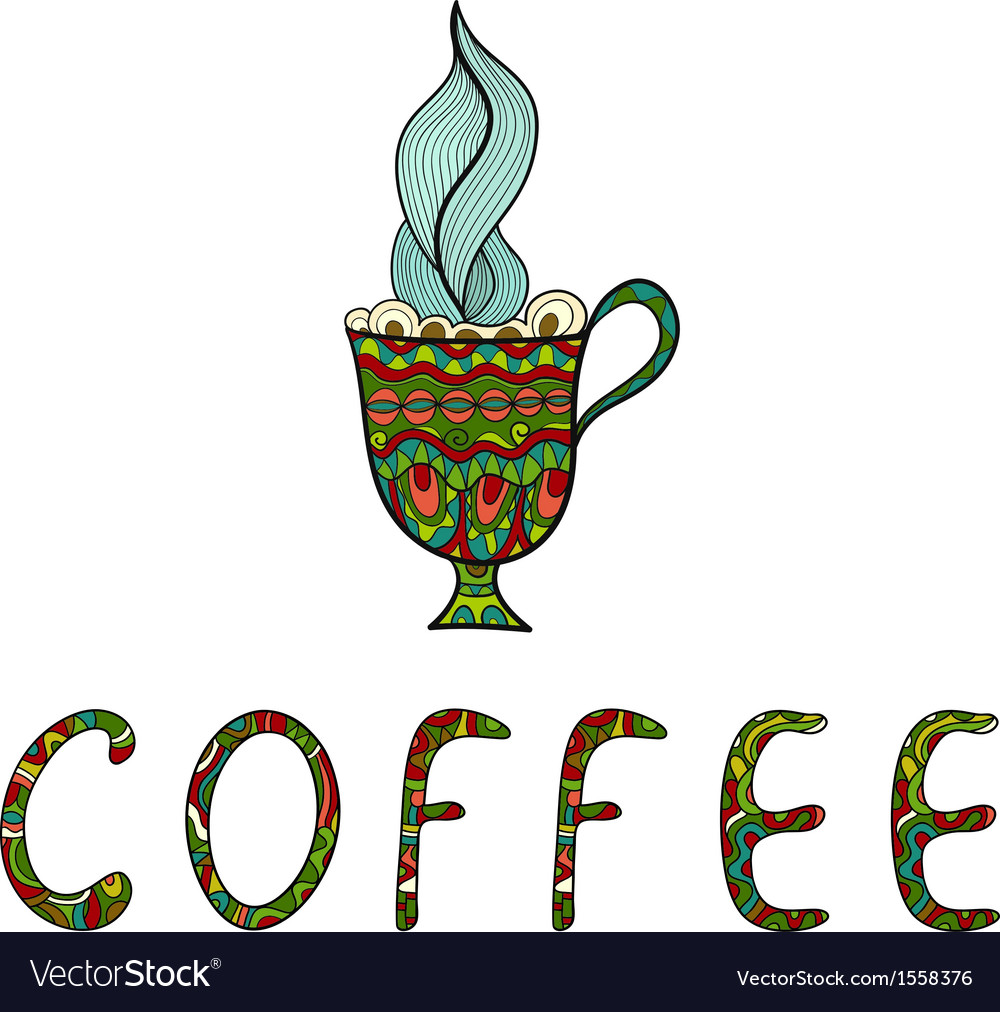 Coffee cup doodle and coffee inscription vector | Price: 1 Credit (USD $1)