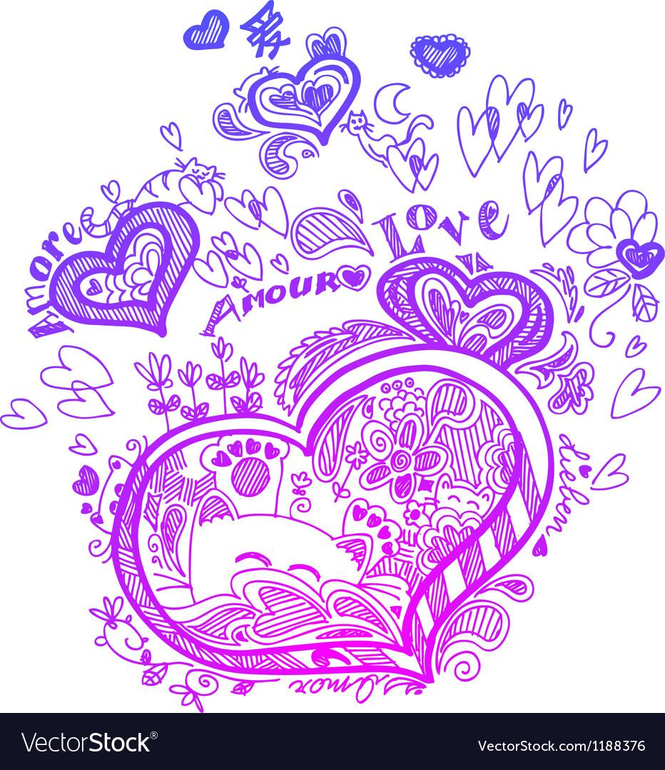 Heart sketched doodles vector | Price: 1 Credit (USD $1)