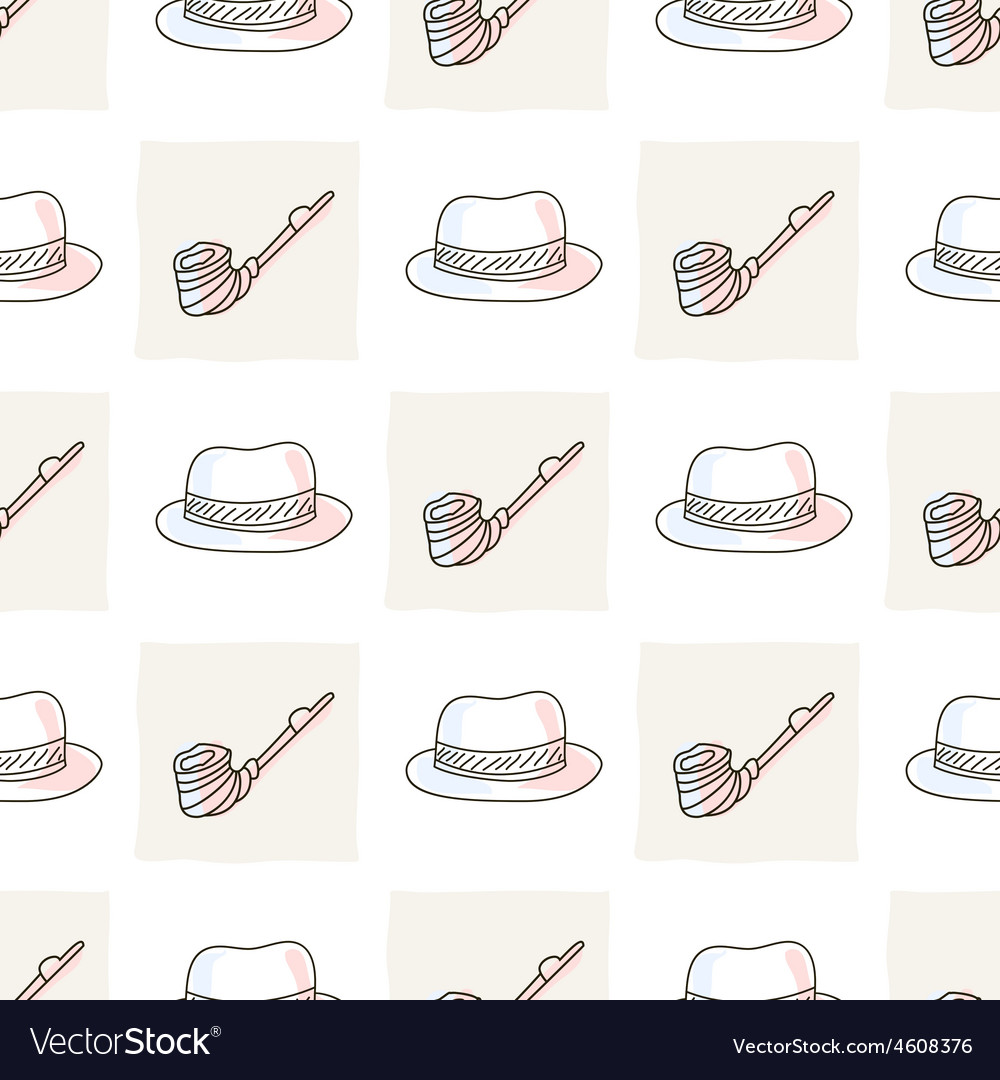Hipster seamless pattern with hat and tobacco pipe vector | Price: 1 Credit (USD $1)