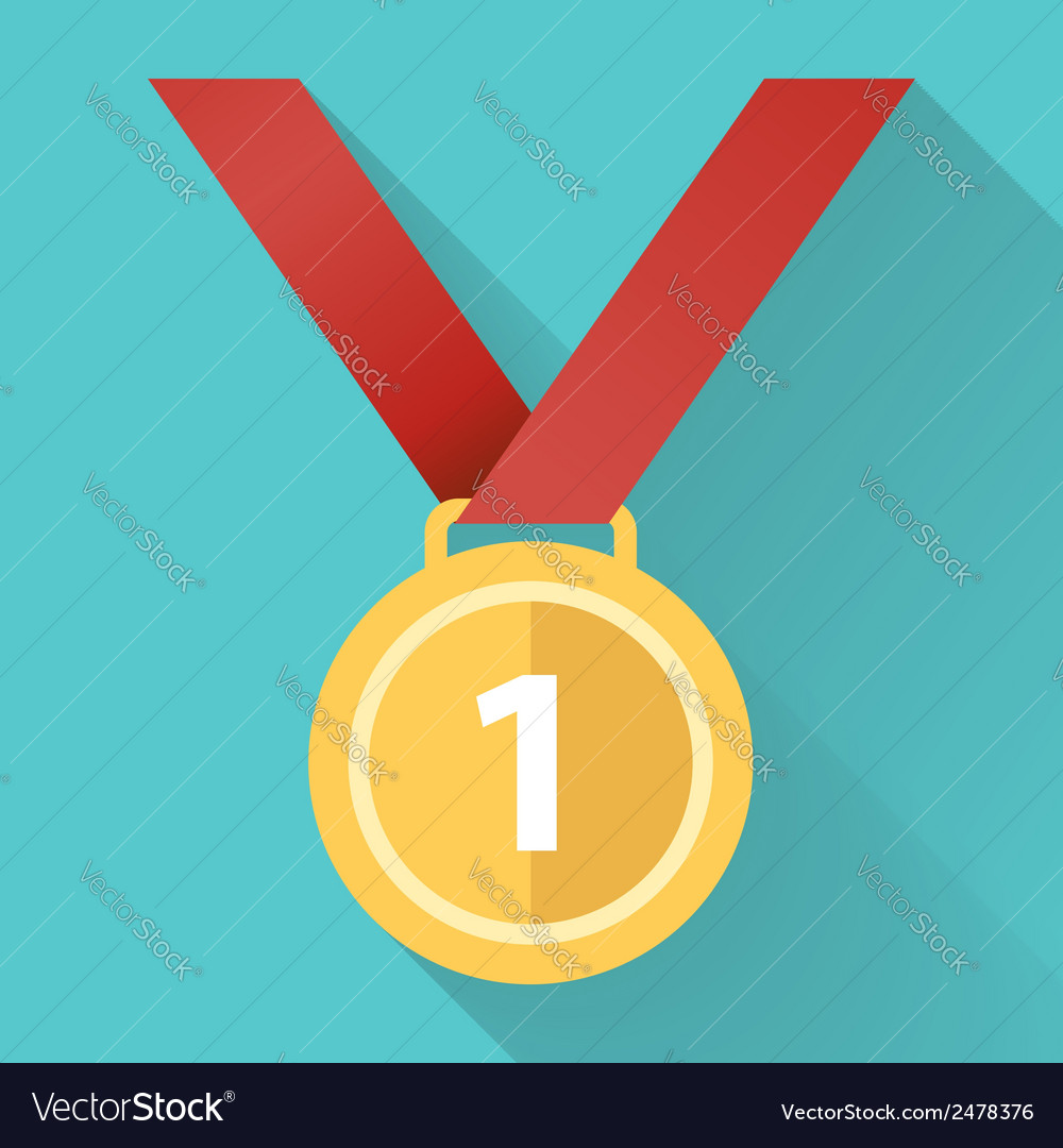 Medal flat icon vector | Price: 1 Credit (USD $1)