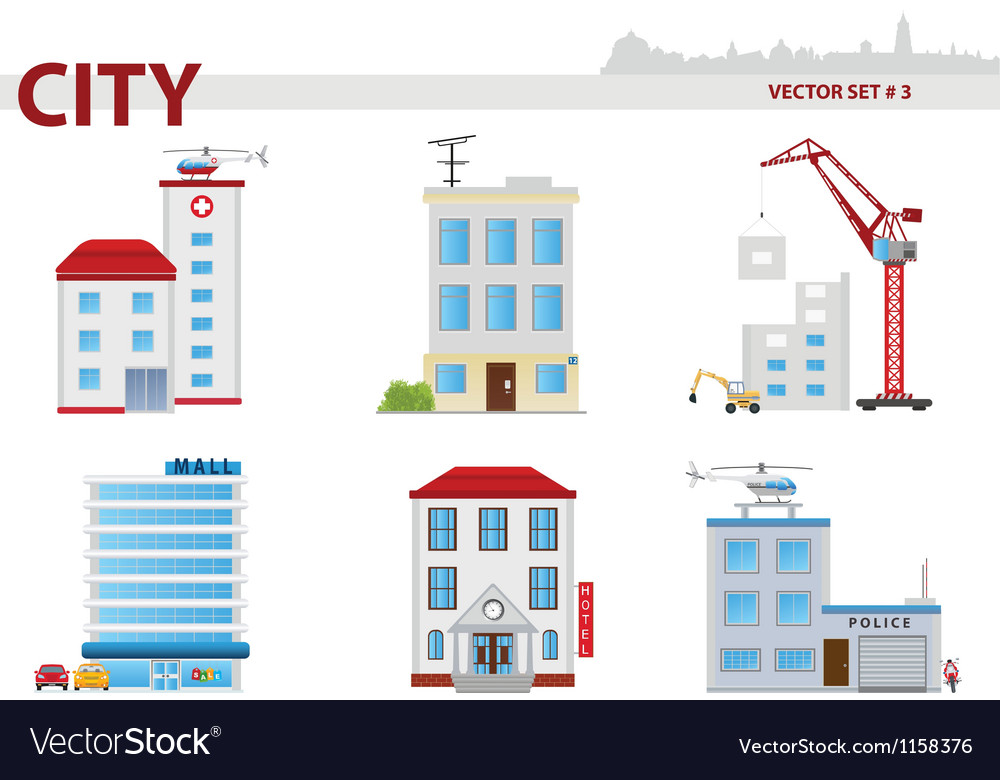Public building set 3 vector | Price: 1 Credit (USD $1)