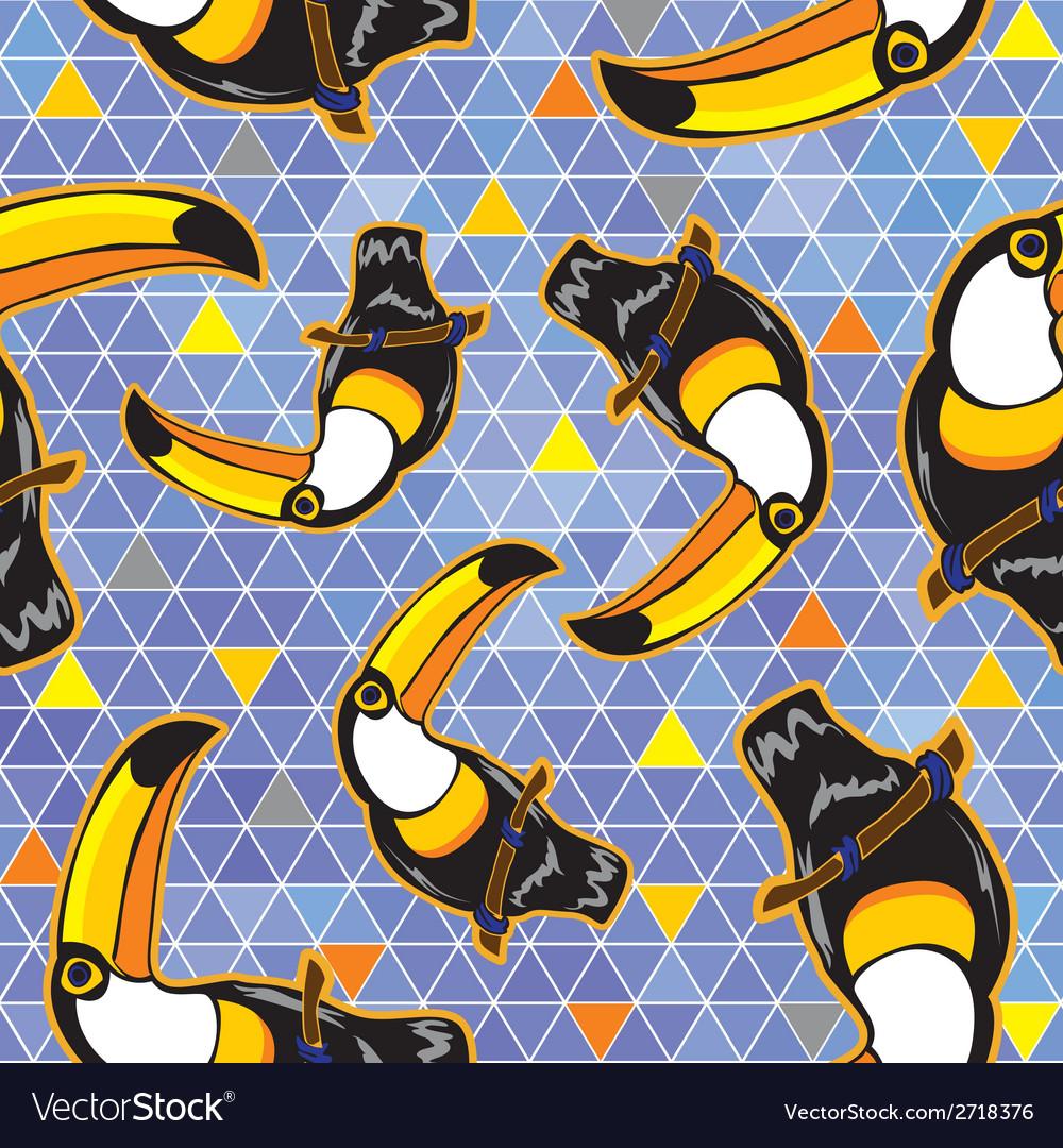 Seamless exotic brazil toucan bird background vector | Price: 1 Credit (USD $1)