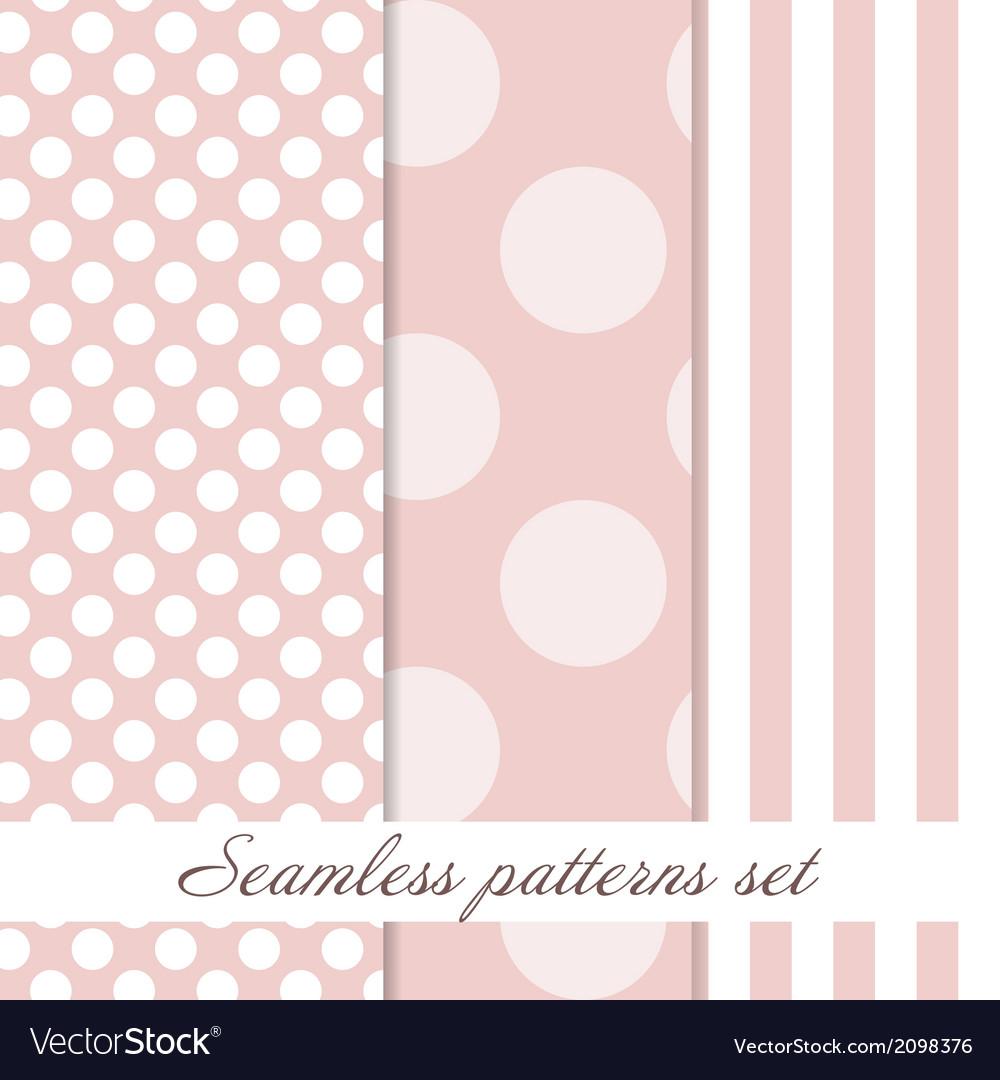 Set seamless polka dot vintage pattern vector | Price: 1 Credit (USD $1)