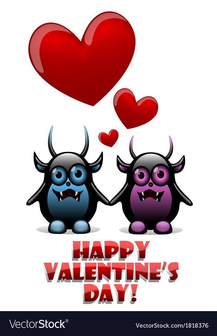 Valentines day card with devils in love vector   Price: 1 Credit (USD $1)