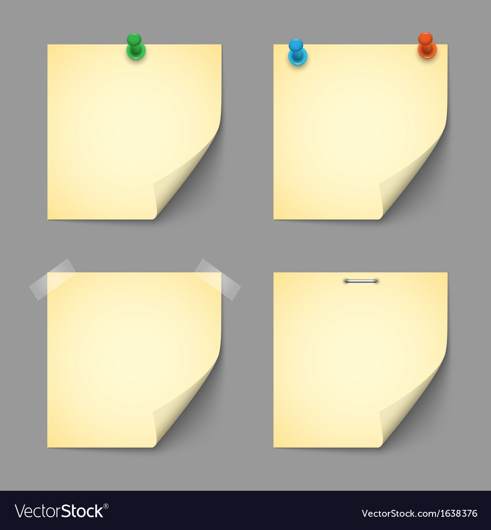 Yellow notice papers with pins and scotch vector | Price: 1 Credit (USD $1)
