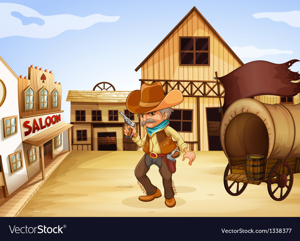 A man holding a gun with a wooden carriage at the vector | Price: 1 Credit (USD $1)