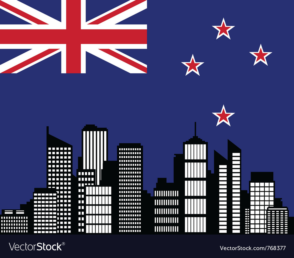 City and flag of new zealand vector | Price: 1 Credit (USD $1)