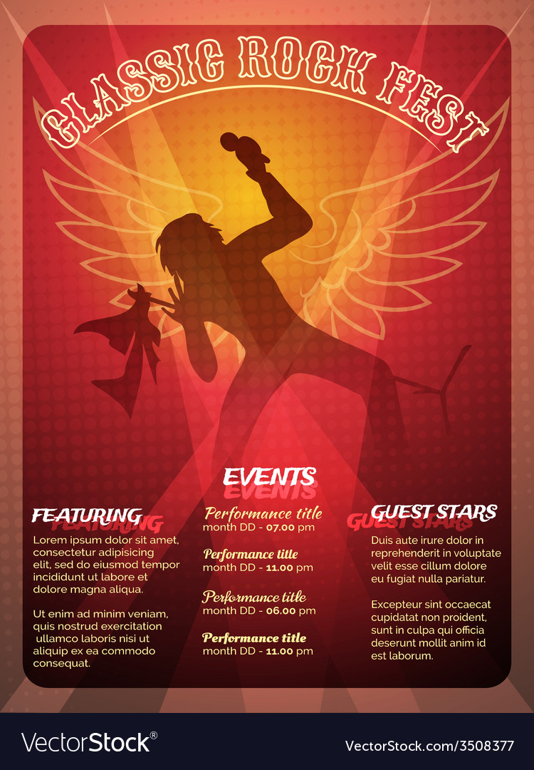 Classic rock fest poster design vector | Price: 1 Credit (USD $1)