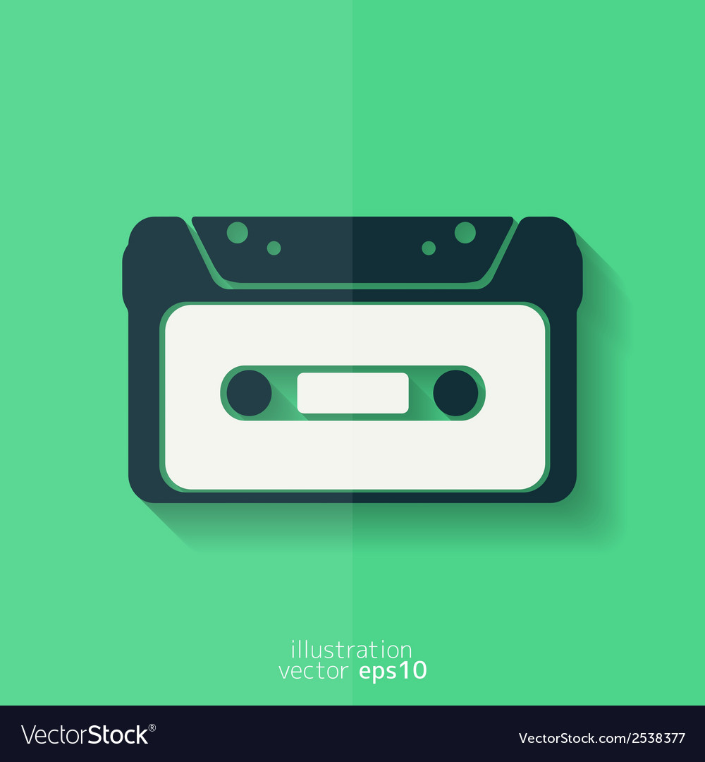 Compact cassette icon flat design hipster style vector | Price: 1 Credit (USD $1)