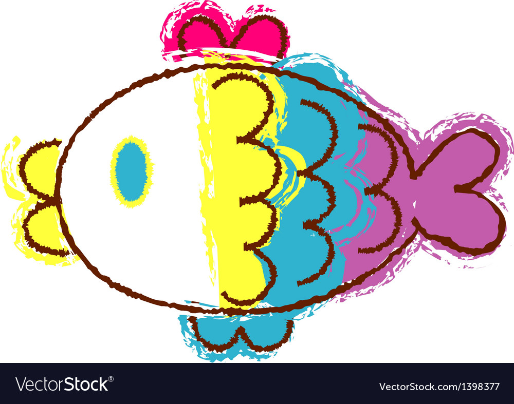 Crayon fish vector | Price: 1 Credit (USD $1)