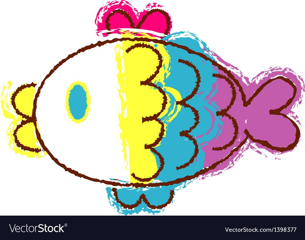 Crayon fish vector | Price: 1 Credit (USD $1)