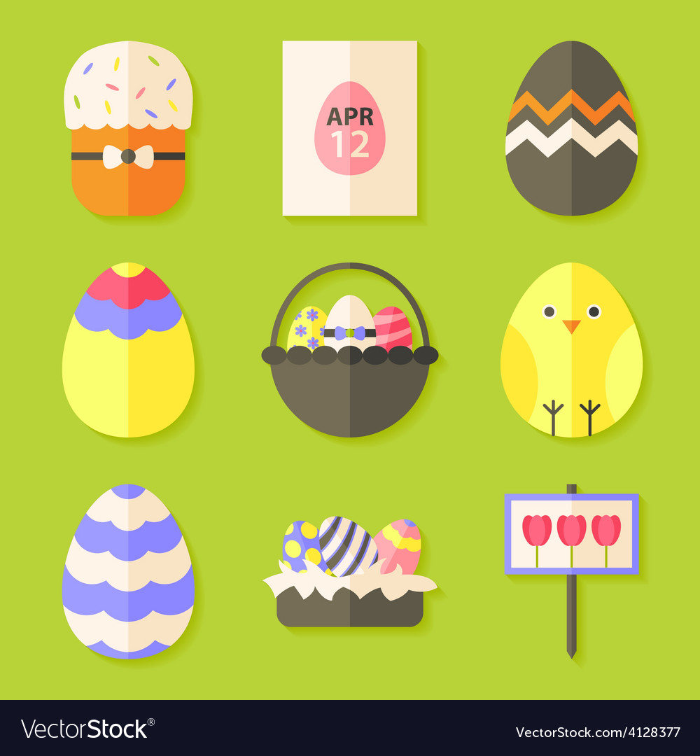 Easter icons set with shadows over green vector | Price: 1 Credit (USD $1)