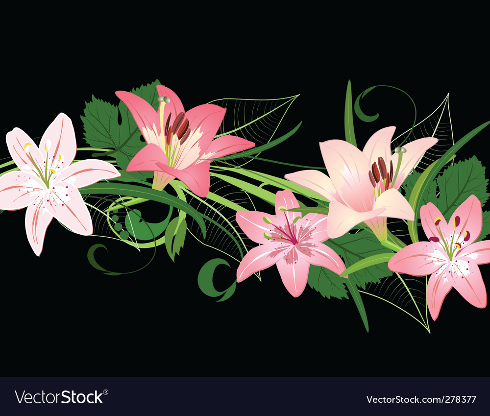 Lilies pattern vector