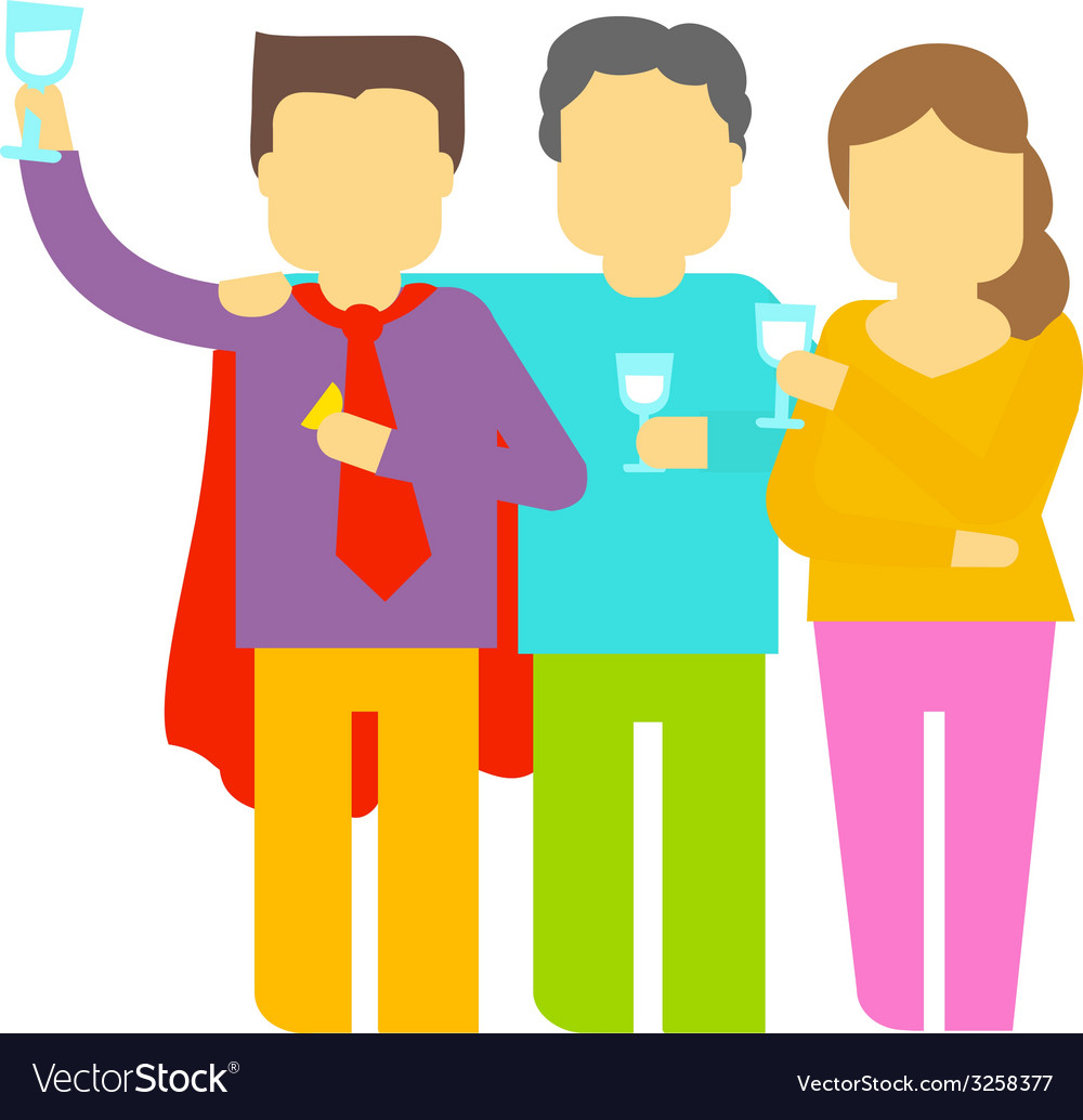 Party three people vector | Price: 1 Credit (USD $1)