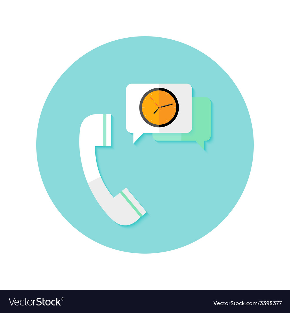 Request callback with time clock flat circle icon vector | Price: 1 Credit (USD $1)