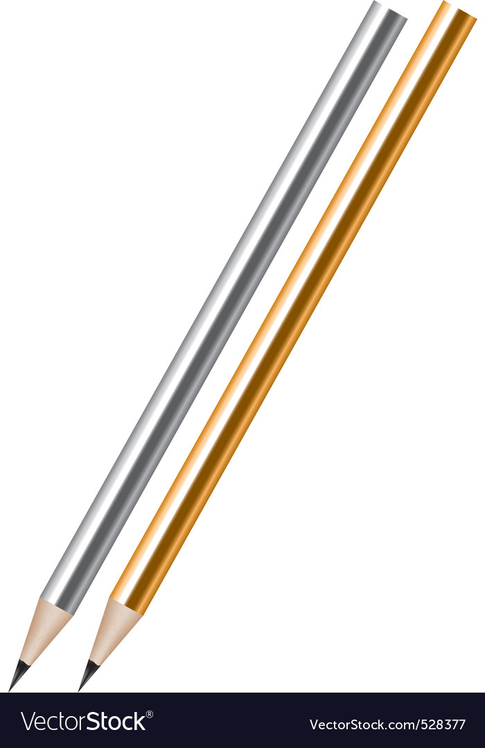silver and golden lead pencils vector | Price: 1 Credit (USD $1)