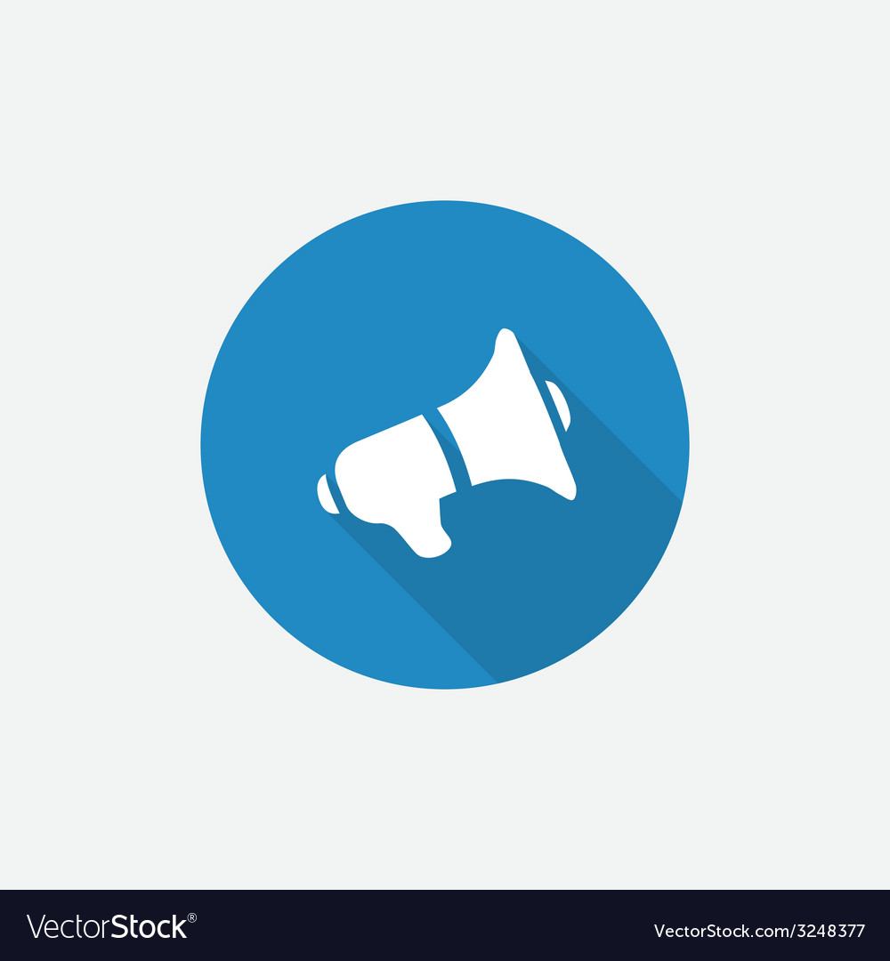 Speaker flat blue simple icon with long shadow vector | Price: 1 Credit (USD $1)