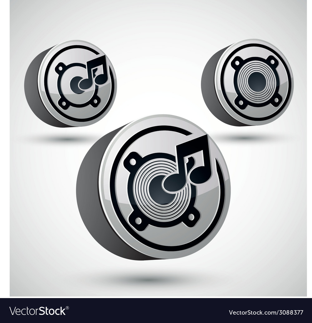 Speaker icon isolated 3d music theme design vector | Price: 1 Credit (USD $1)