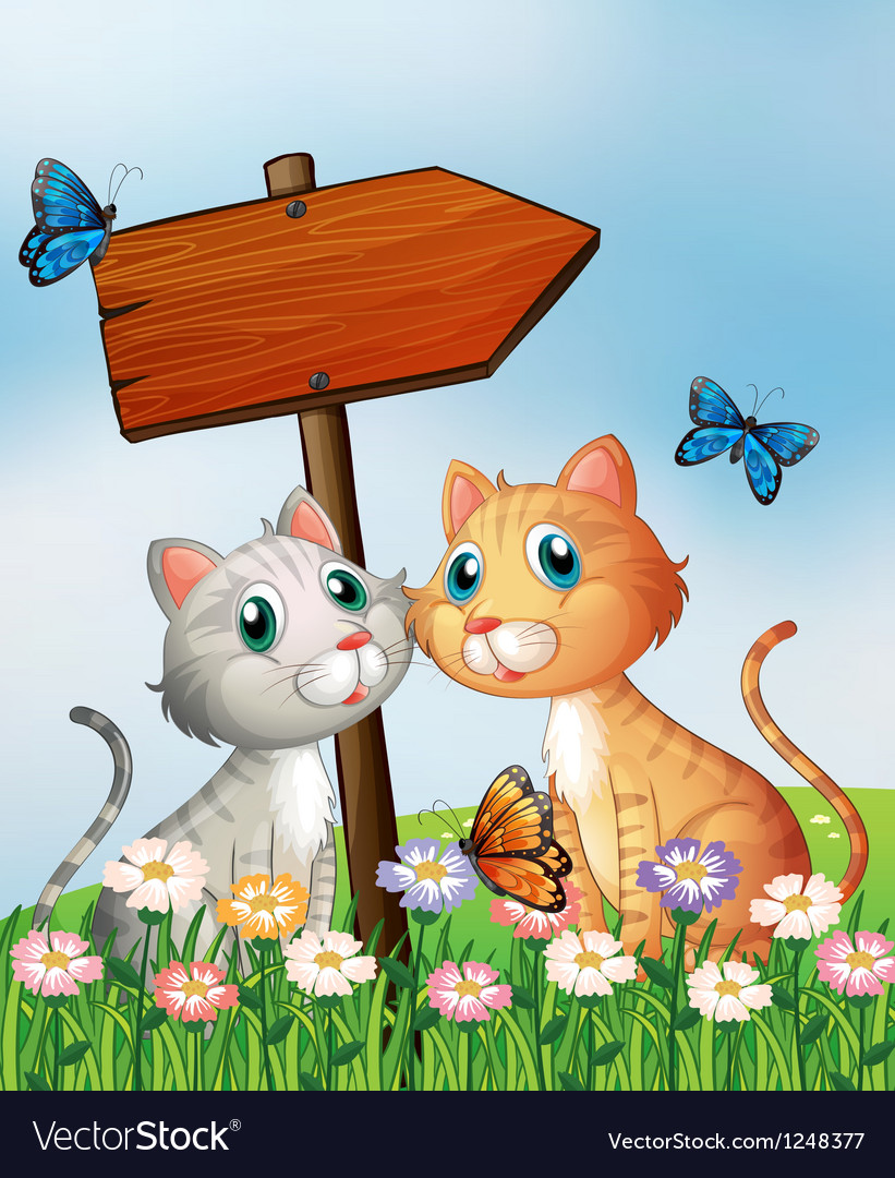 Two cats in front of an empty wooden arrow board vector | Price: 1 Credit (USD $1)