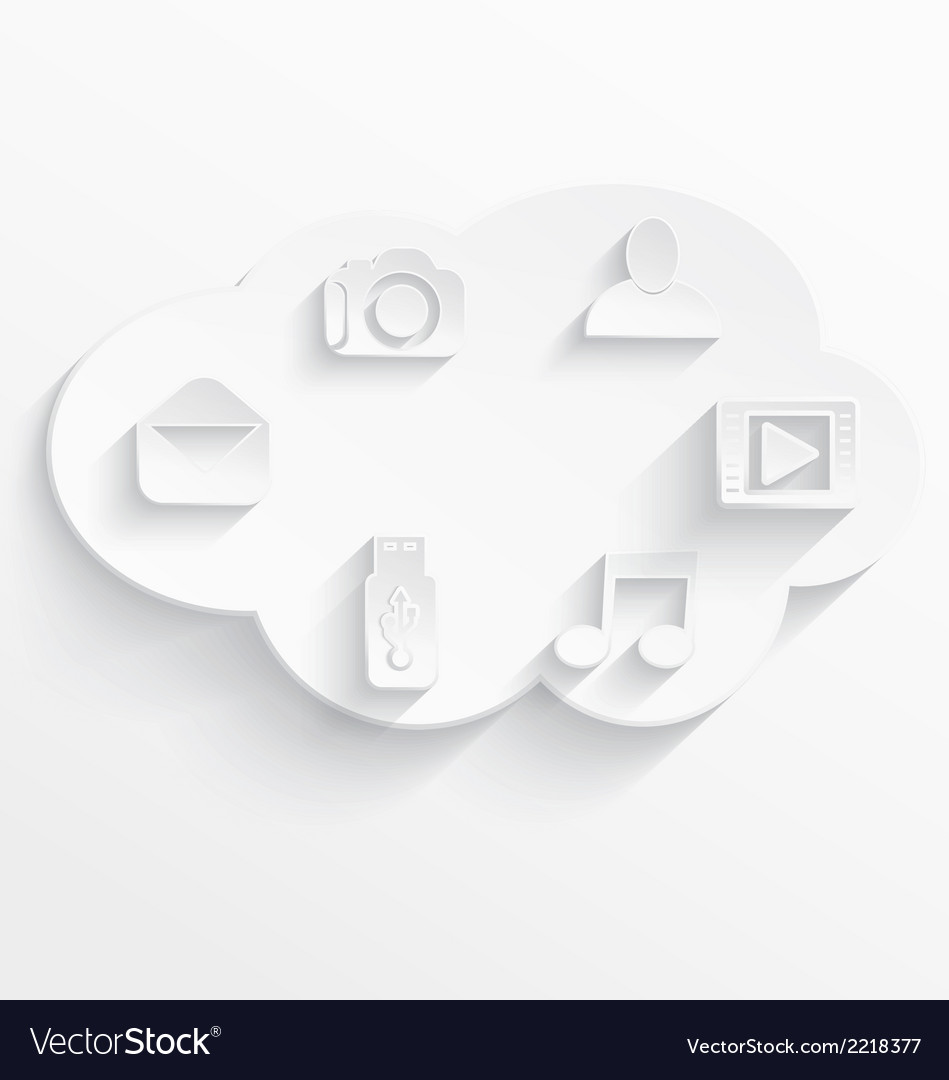 White cloud computing symbols vector | Price: 1 Credit (USD $1)