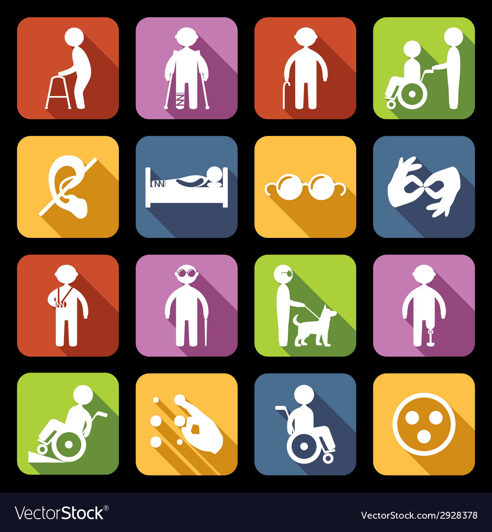 Disabled icons set flat vector | Price: 1 Credit (USD $1)