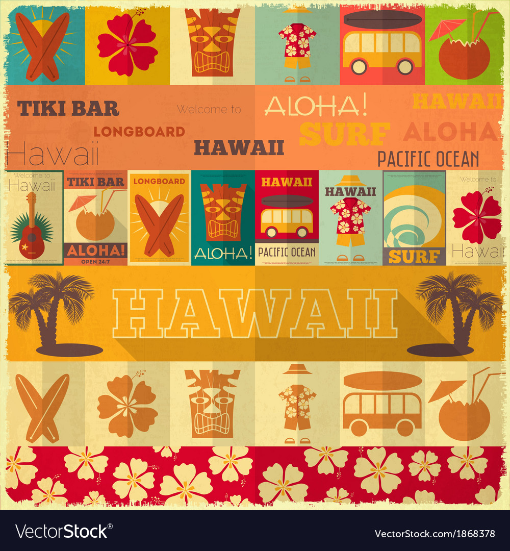 Hawaii surf retro card vector | Price: 1 Credit (USD $1)