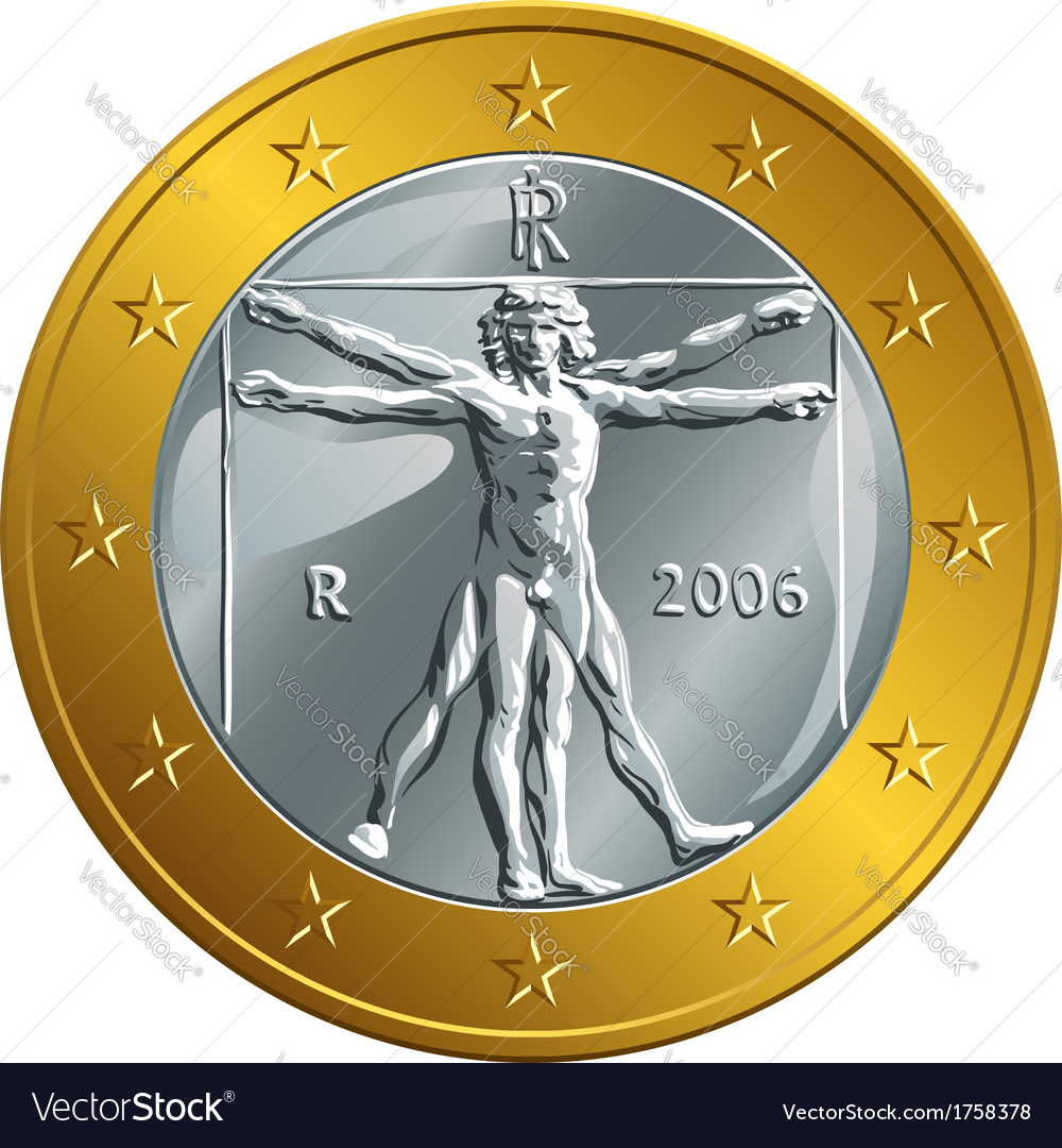 Italian money gold coin euro vector | Price: 1 Credit (USD $1)