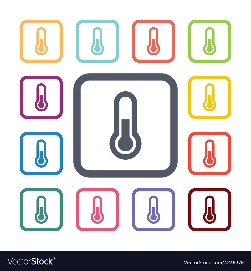 Thermometer flat icons set vector | Price: 1 Credit (USD $1)