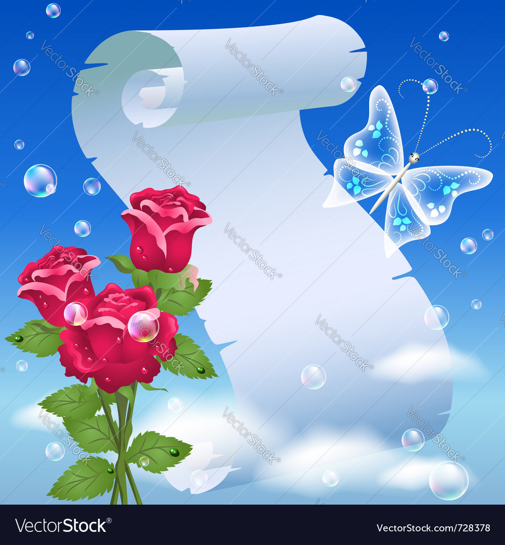 Parchment and roses vector | Price: 1 Credit (USD $1)