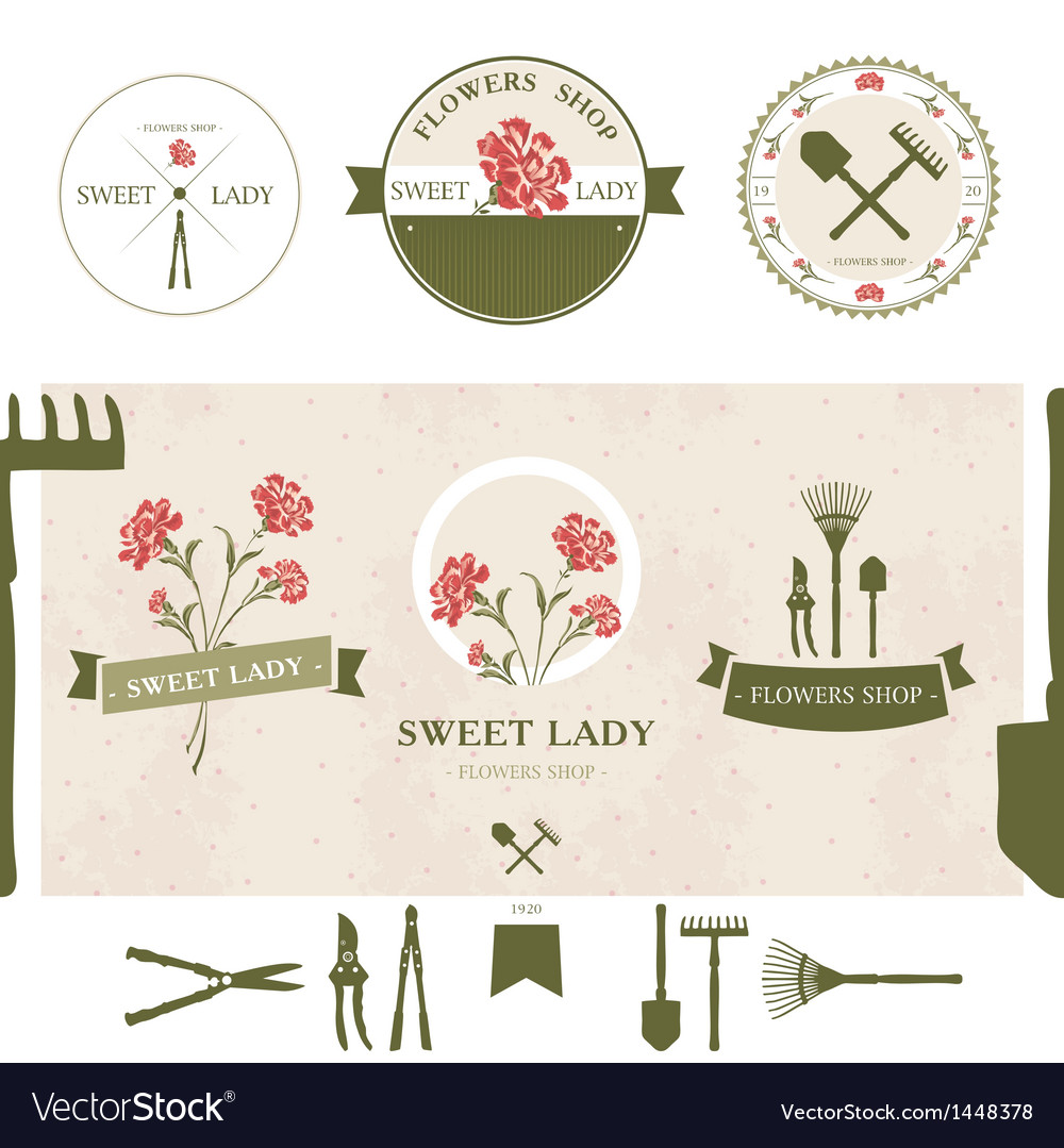 Set of flowers shop labels and design elements vector | Price: 1 Credit (USD $1)