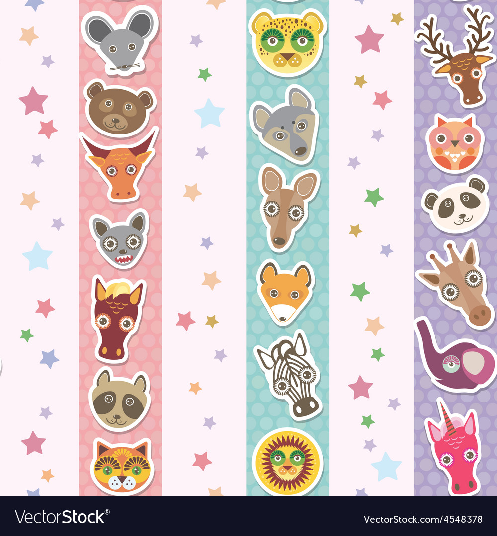 Set of funny animals muzzle seamless pattern with vector | Price: 1 Credit (USD $1)