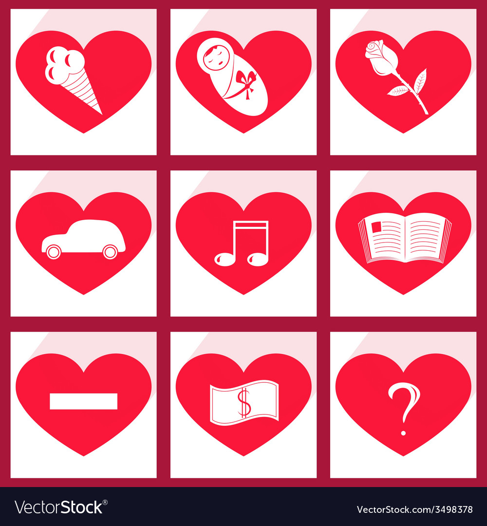 Set of icons heart vector | Price: 1 Credit (USD $1)