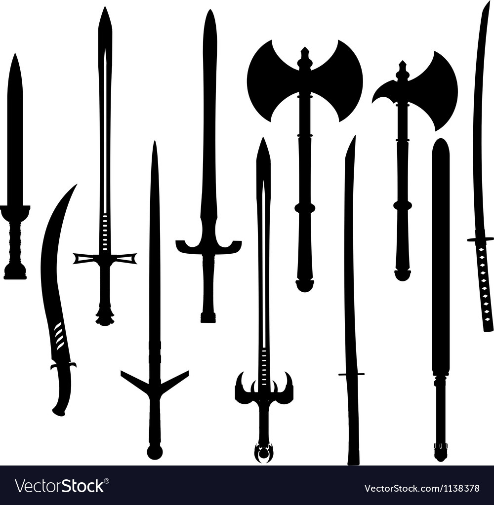 Set of swords and axes silhouettes vector