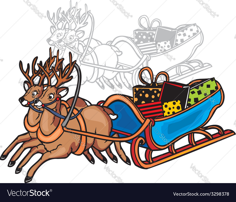 Sleigh and reindeer - vinyl-redy vector | Price: 1 Credit (USD $1)